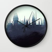 harry potter Wall Clocks featuring Harry Potter - Hogwarts by Juniper Vinetree