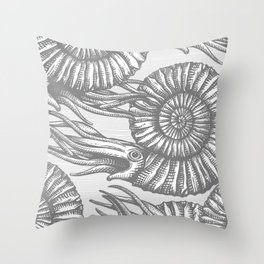 AMMONITE COLLECTION GRAY Throw Pillow