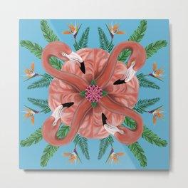Flamingo Tropical Mandala Metal Print