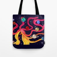 solar system Tote Bags featuring Solar System by Lunah