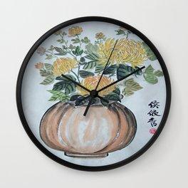 Chrysanthemum Flowers In The Vase Wall Clock