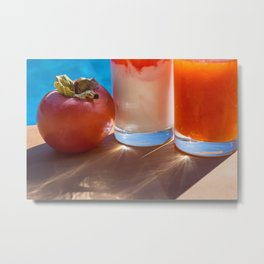 fresh sweet persimmon and delicious drinks in the summer sun Metal Print