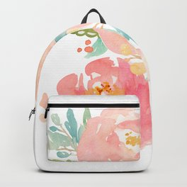 Watercolor Peonies Summer Bouquet Backpack