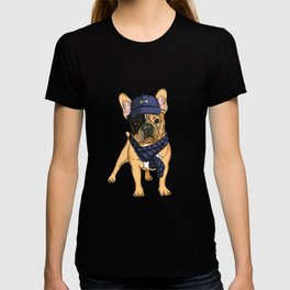 Cute puppy pug in baseball hat and scarf. T-shirt