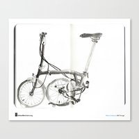 "brompton Canvas Prints featuring Mário Linhares, ""Brompton Bicycle"" by Urban Sketchers"