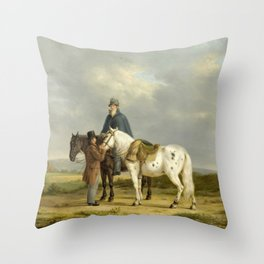Two Riders in a Landscape, Anthony Oberman, 1817 b Throw Pillow