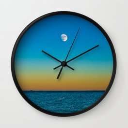 Moon Rising Over Chicago's North Shore Wall Clock