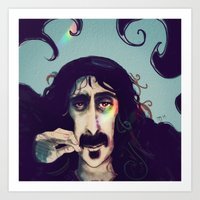 zappa Art Prints featuring Frank Zappa by womoomow