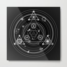 Sacred geometry black and white geometric art Metal Print