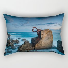 sunrise at the beach, san Sebastian donostia sculpture Rectangular Pillow