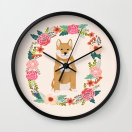 shiba inu floral wreath pet portrait dog breed dog mom Wall Clock