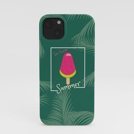 Watermelon Ice Cream Tropical Palm leaves Hello Summer iPhone Case