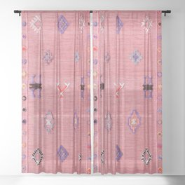 Pink Oriental Traditional Boho Moroccan Style Design Artwork Sheer Curtain