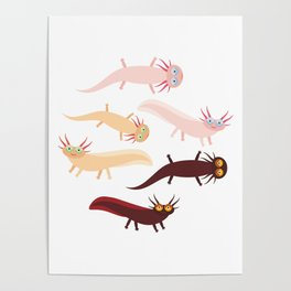 Cute orange pink brown Axolotl Cartoon character (Mexican salamander, Ambystoma mexicanum) Poster