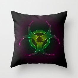 An illustration of a fluorescent biohazard symbol.  Throw Pillow