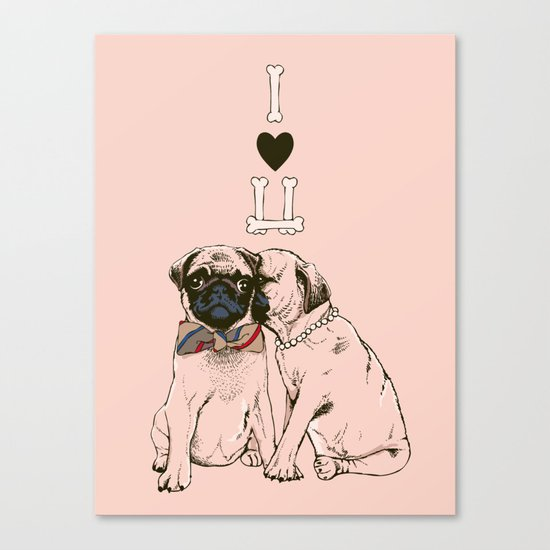 The Love of Pug Canvas Print