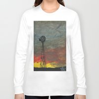 kansas Long Sleeve T-shirts featuring windmill kansas by BryanCorbinArt