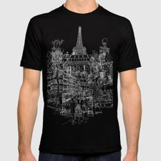 Paris B&W (Dark T-shirt version) LARGE Black Mens Fitted Tee