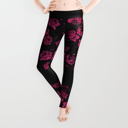 Girly Pink Rustic Floral Roses and Black Pattern Leggings
