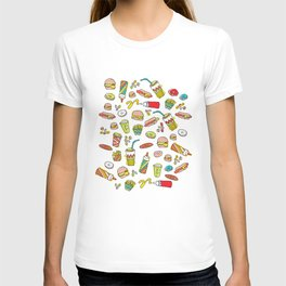 Awesome retro junk food icons T-shirt