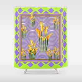 Lime Trellis Lilac Diamonds Calla Lilies Shower Curtain