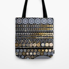 WRANGLE - indigo denim blue black tan cream circle abstract design Tote Bag