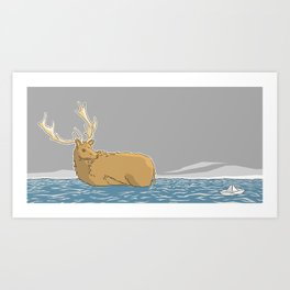 A deer in water - v1 Art Print