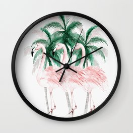 Three Flamingos Wall Clock