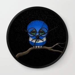 Baby Owl with Glasses and Salvadorian Flag Wall Clock
