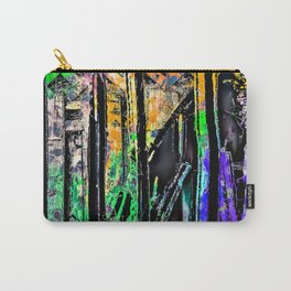 cactus with wooden background and painting abstract in green orange blue purple Carry-All Pouch