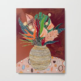 Autumnal Bouquet of Flowers in Woven Basket Vase on Warm Auburn Rust Still Life Fall Floral Painting Metal Print