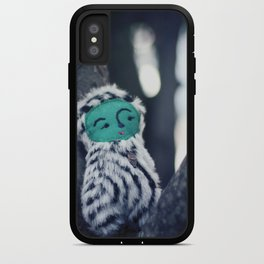 woodland spirit - green face and black and white body iPhone Case