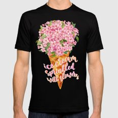 Ice Cream Sprinkled With Flowers LARGE Mens Fitted Tee Black
