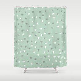 mint green stars Shower Curtain