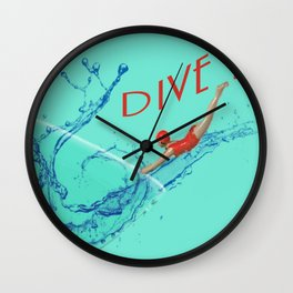 Dive In Head First Wall Clock