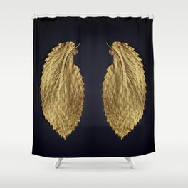 Gol Leaf Wings on Black Shower Curtain