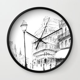 Sketch of a Street in Paris Wall Clock