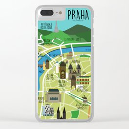 Prague map illustrated Clear iPhone Case