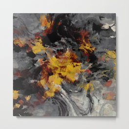 Yellow / Golden Abstract / Surrealist Landscape Painting Metal Print