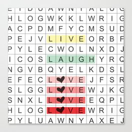 Word Search II Canvas Print