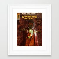 guardians of the galaxy Framed Art Prints featuring Guardians of The Galaxy  by Juan Hugo Martinez Illustrations
