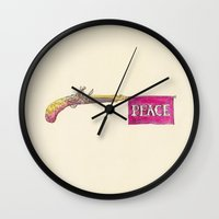 peace Wall Clocks featuring Peace by Eric Fan