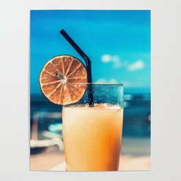 Cold drink at the beach Poster