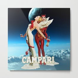 Classic Campari Alcoholic Angel & Devil - Earth, Sun, and Stars Aperitif Advertising Vintage Poster Metal Print