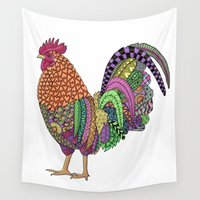 cock Wall Tapestries featuring Cock-a-doodle Rooster II by Michelle Bowden Art