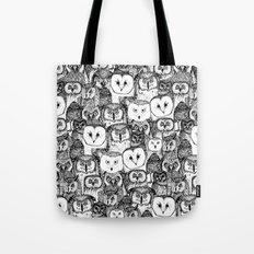 just owls black white Tote Bag