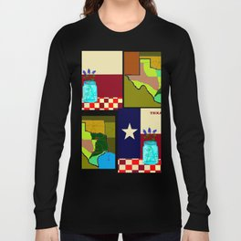 A Texas Quilt, State Flag and Blue Bonnets Long Sleeve T-shirt