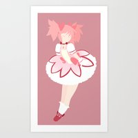 madoka Art Prints featuring Madoka flat by lazylogic