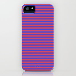 Even Horizontal Stripes, Blue and Red, XS iPhone Case