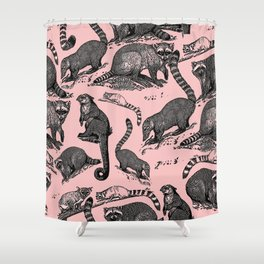 Vintage Woodland Forest Racoons & Critters - Pink Shower Curtain